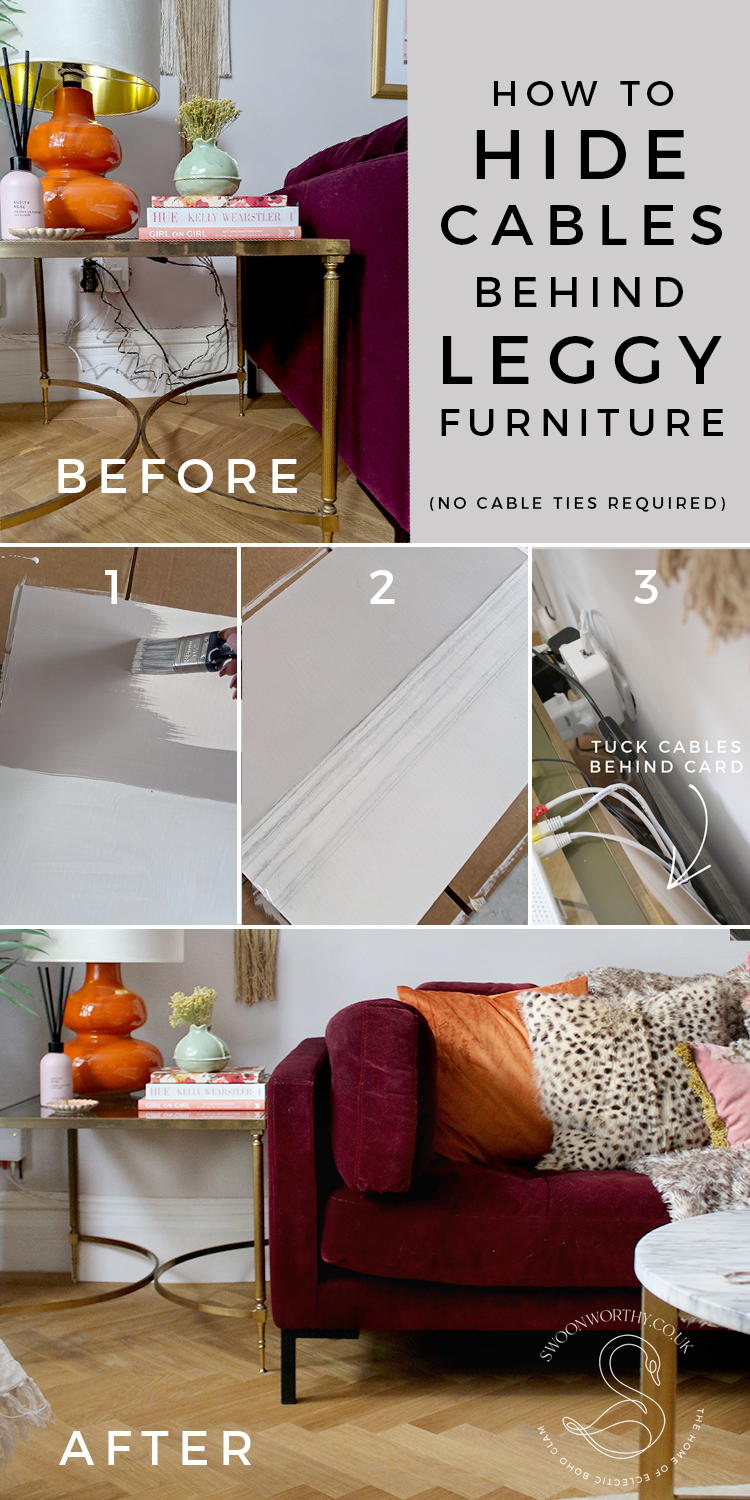 How to Hide Cables Behind Leggy Furniture Before and After