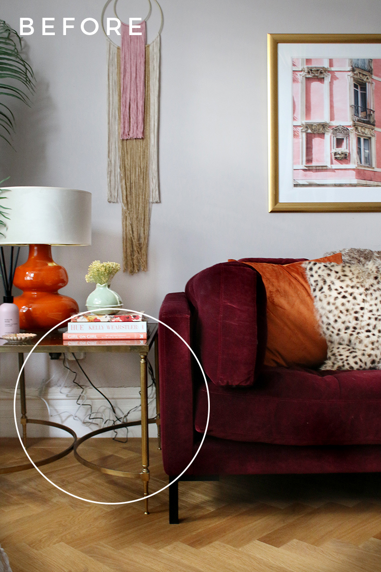 How to hide messy cables behind leggy furniture BEFORE