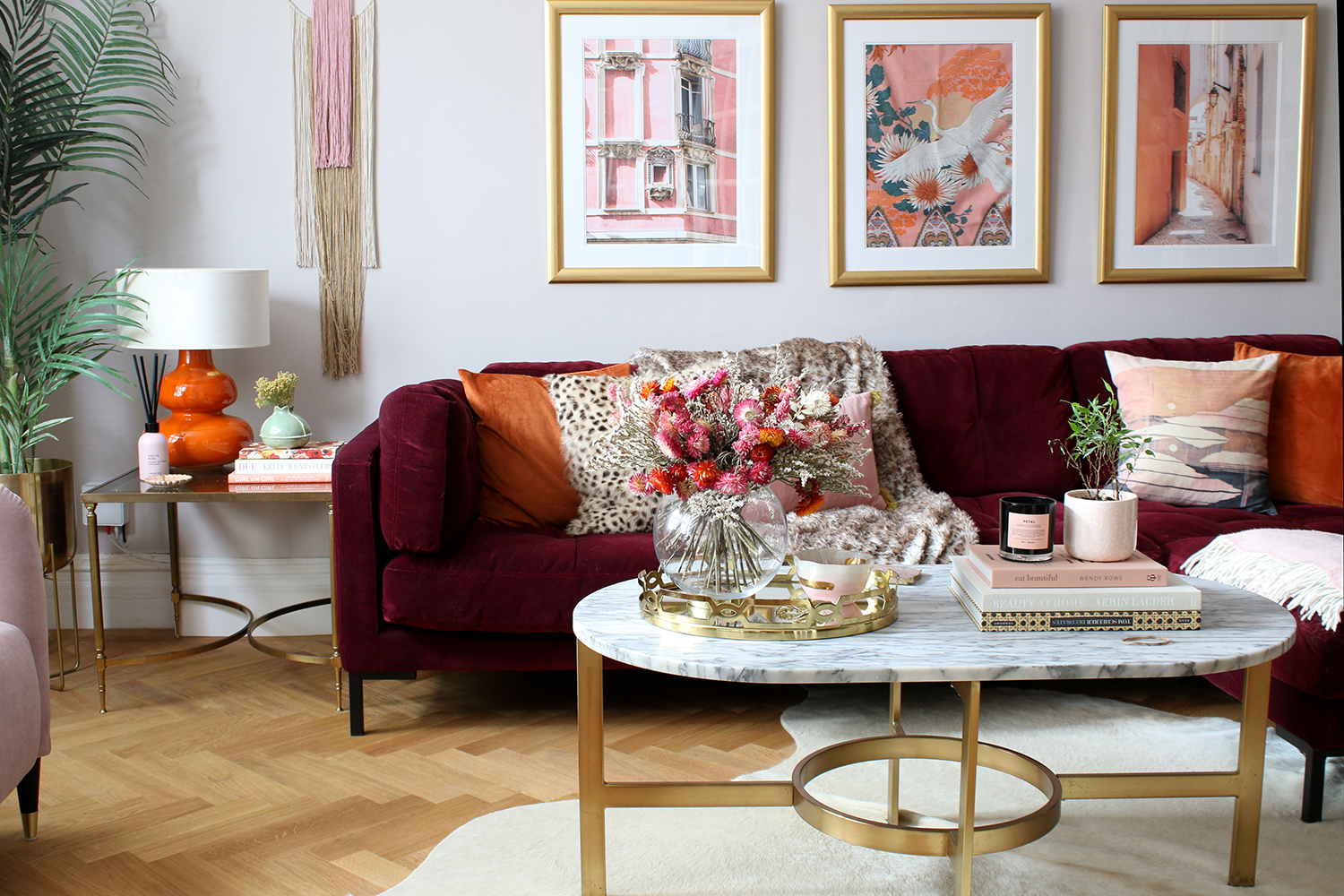 pink orange and burgundy living room