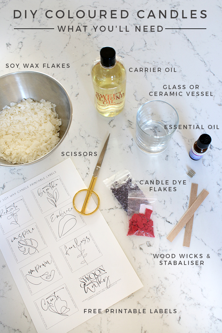 DIY Soy Wax Coloured Candles with Wood Wick - Materials List