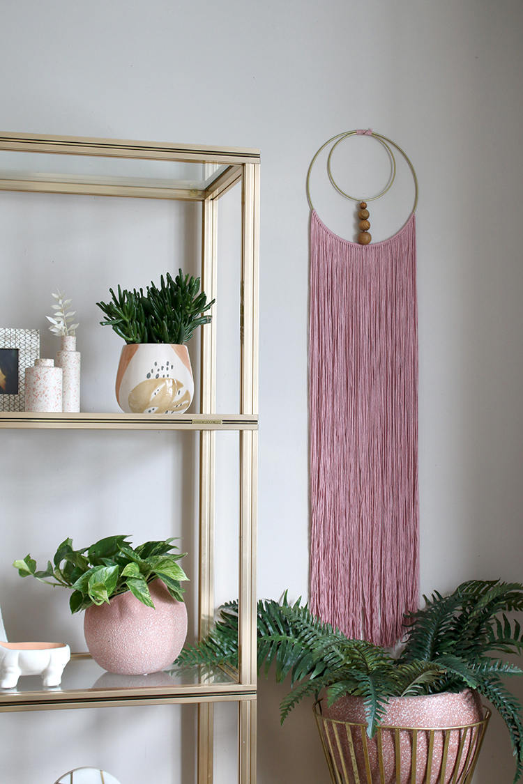 pink DIY double loop gold and pink fringed wall hanging
