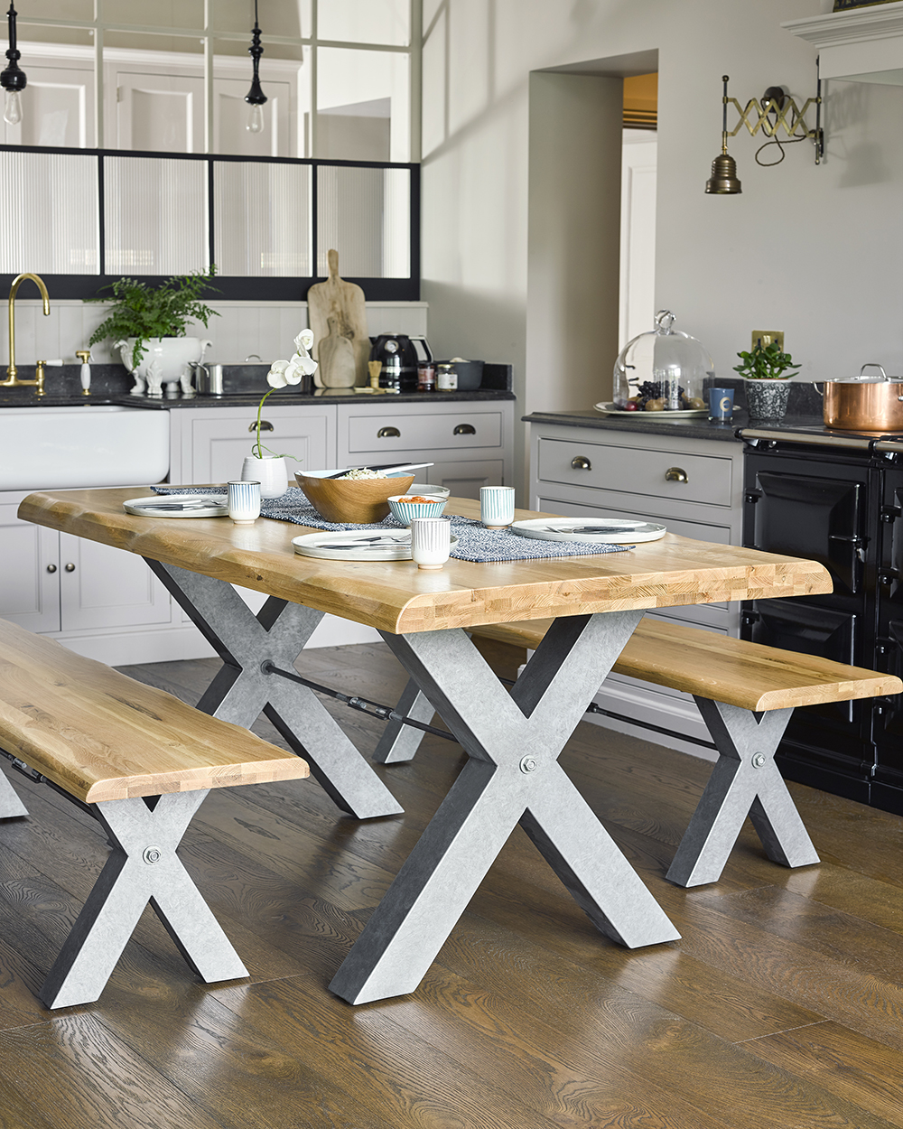 Living edge bench dining table set in kitchen from Oak Furniture Land - How to Choose Wood Furniture