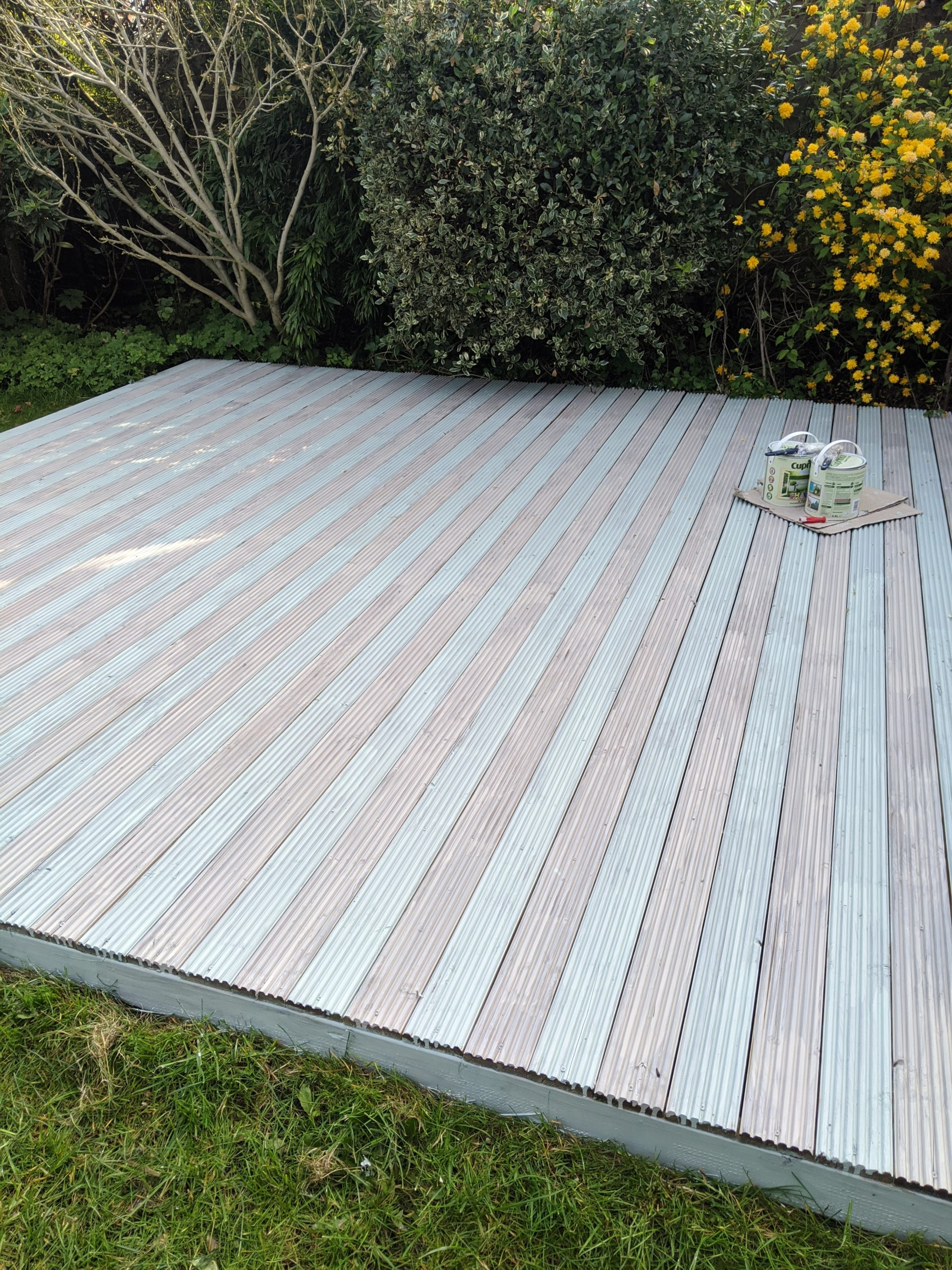 first coat of painting done on the deck