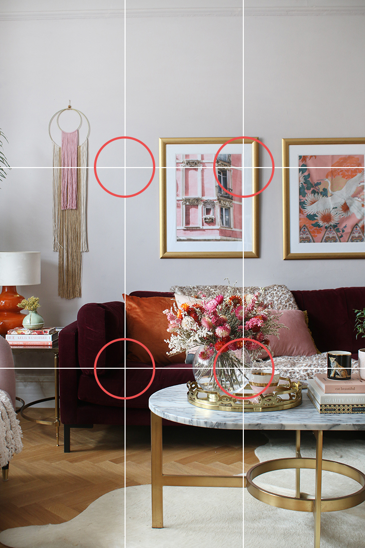 Rule of Thirds Intersecting Lines - Photo tips for Instagram Interior shots