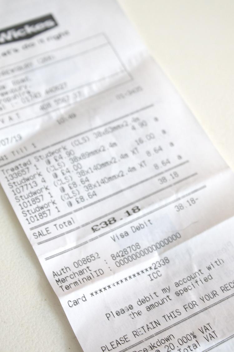 Wickes receipt