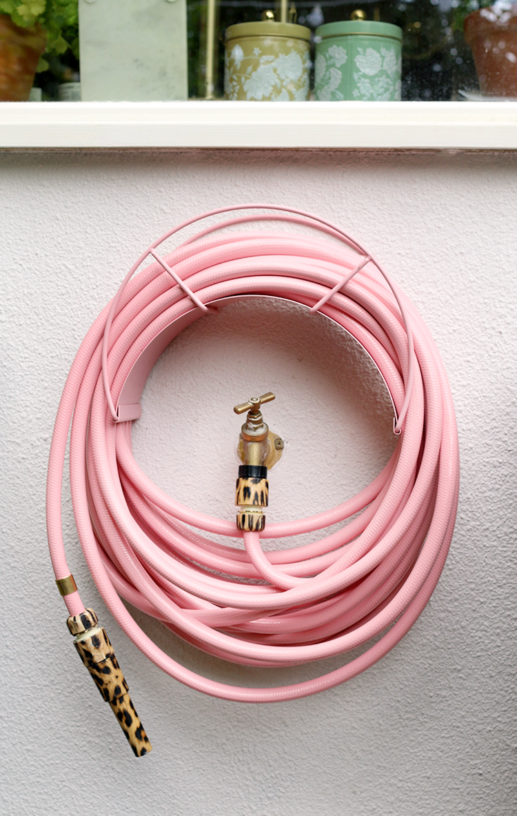 pink and leopard print garden hose from Garden Glory