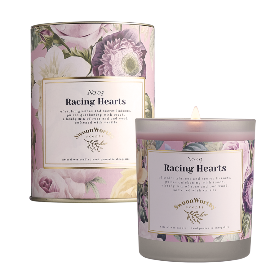 No 3 Racing Hearts Candle lit & Packaging
