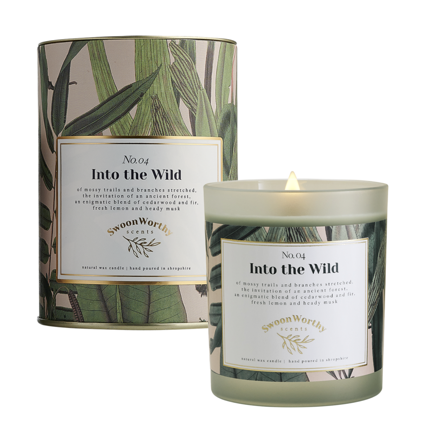 No 4 Into the Wild Candle lit & Packaging