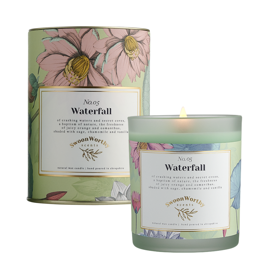 No 5 Waterfall Candle lit & Packaging