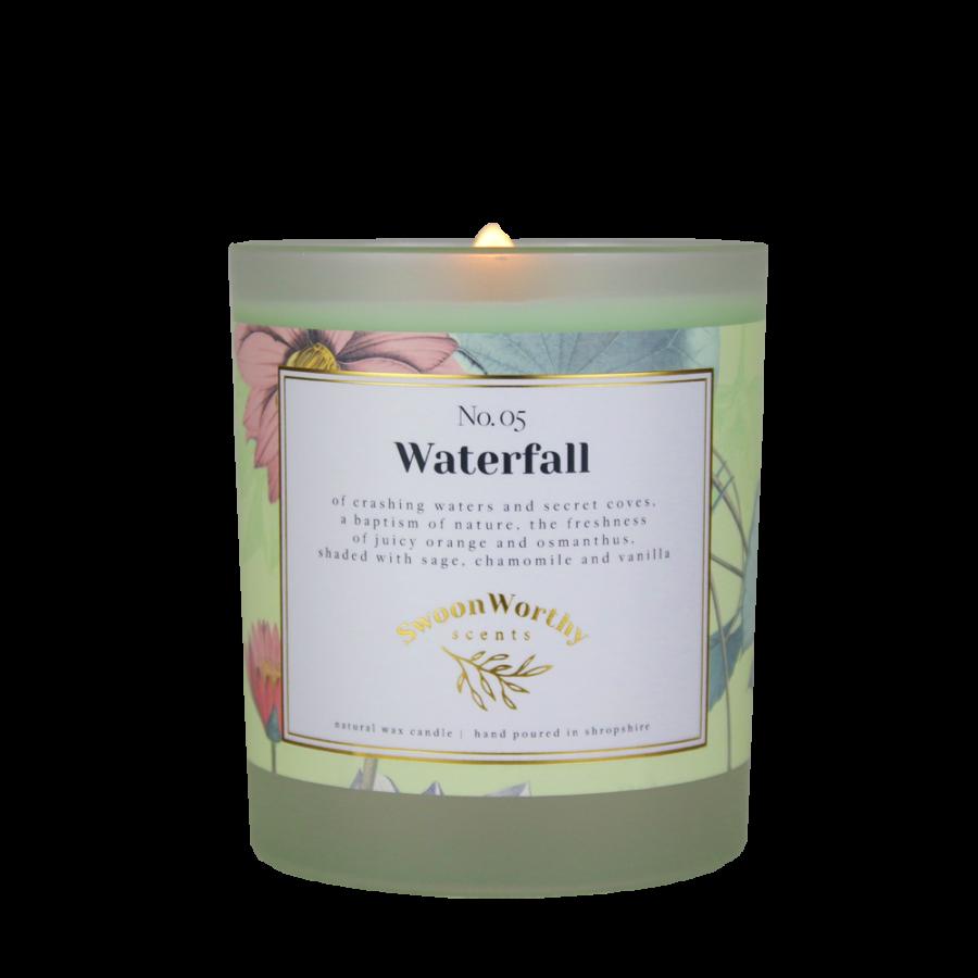 No 5 Waterfall Lit Candle KH VB Jul 21
