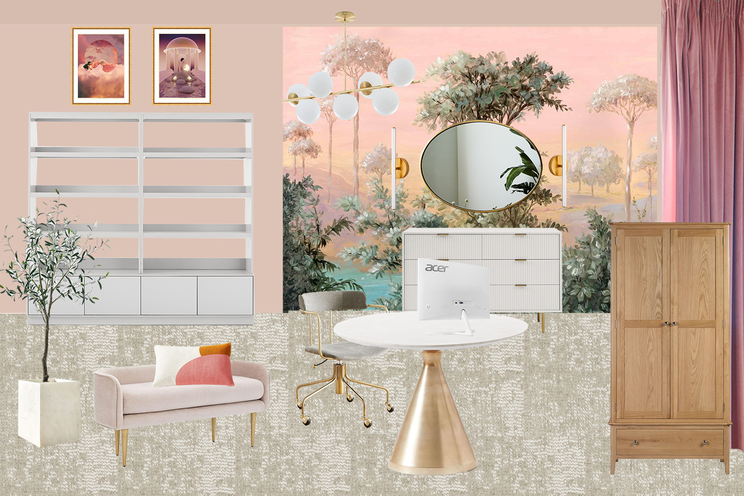 Office and Dressing Room Combined Mood Board in Pink Peach and Gold