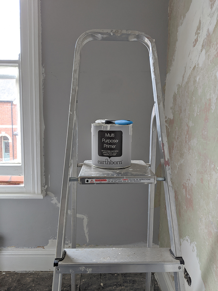 Earthborn multi surface primer on ladder