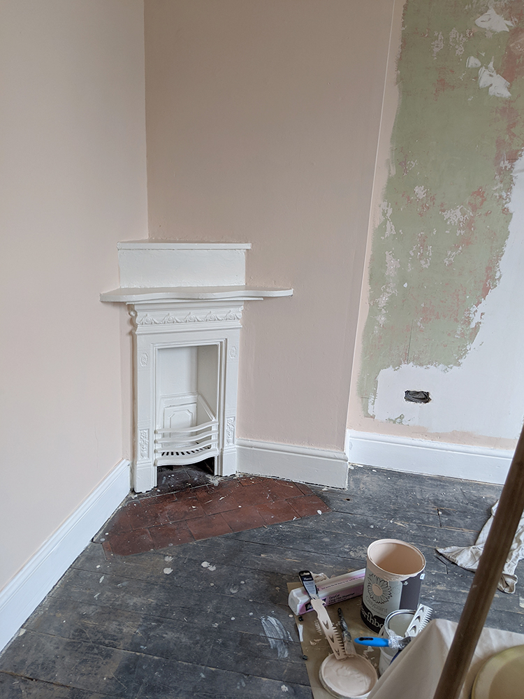 corner fireplace in victorian home renovation