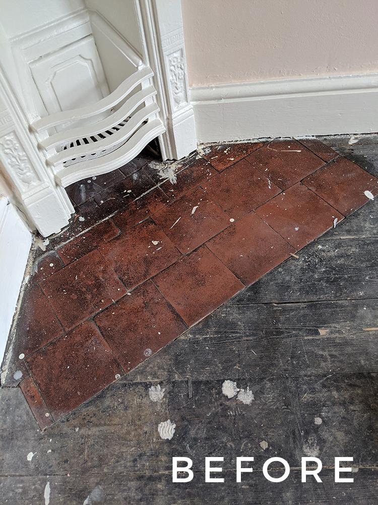 Victorian floor tiles Before restoration