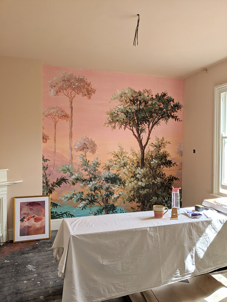 peach office with mural renovation