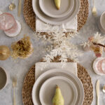 Autumn Boho Glam Table Setting in Pink and Taupe