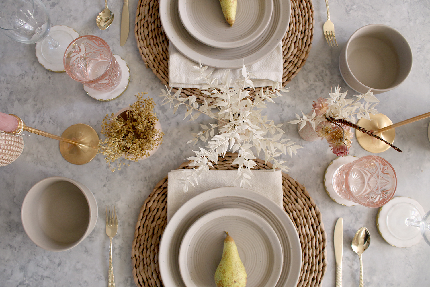 Autumn Table Setting with natural colours and dried grasses