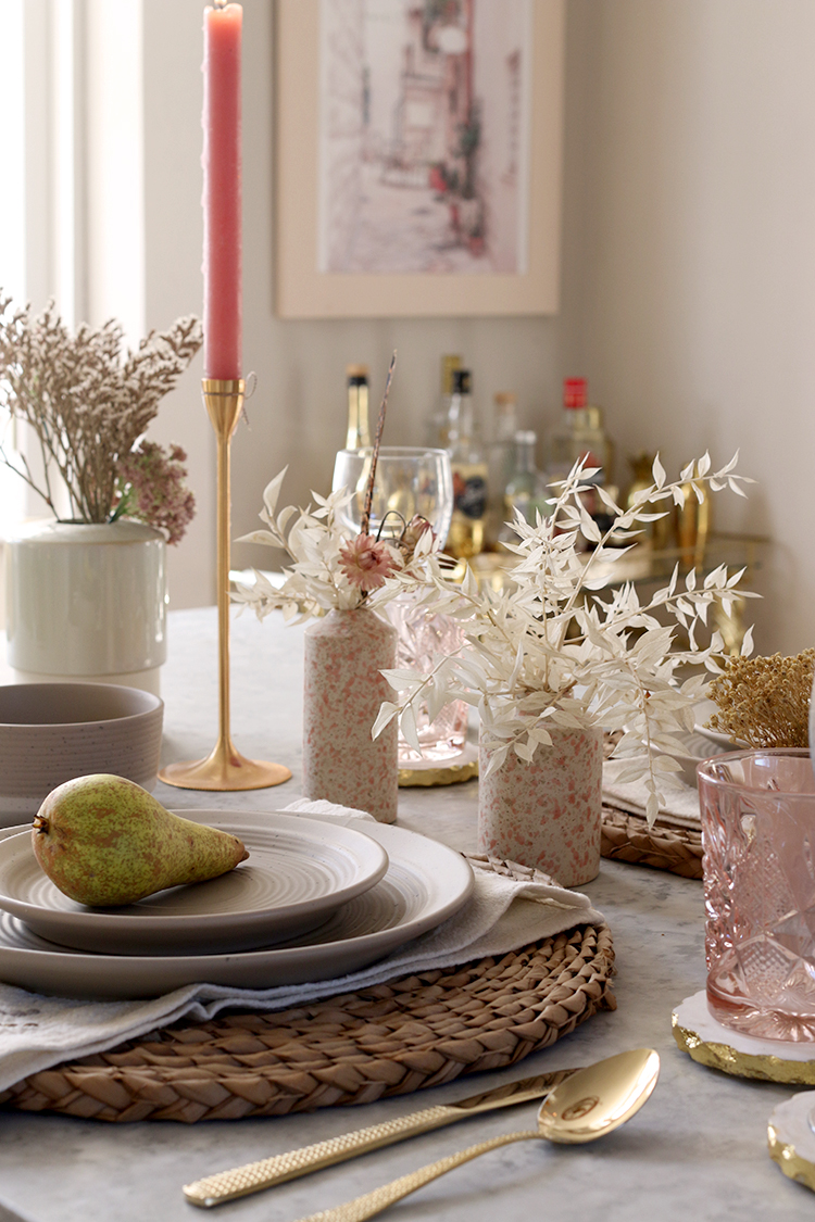 table setting in pink and beige