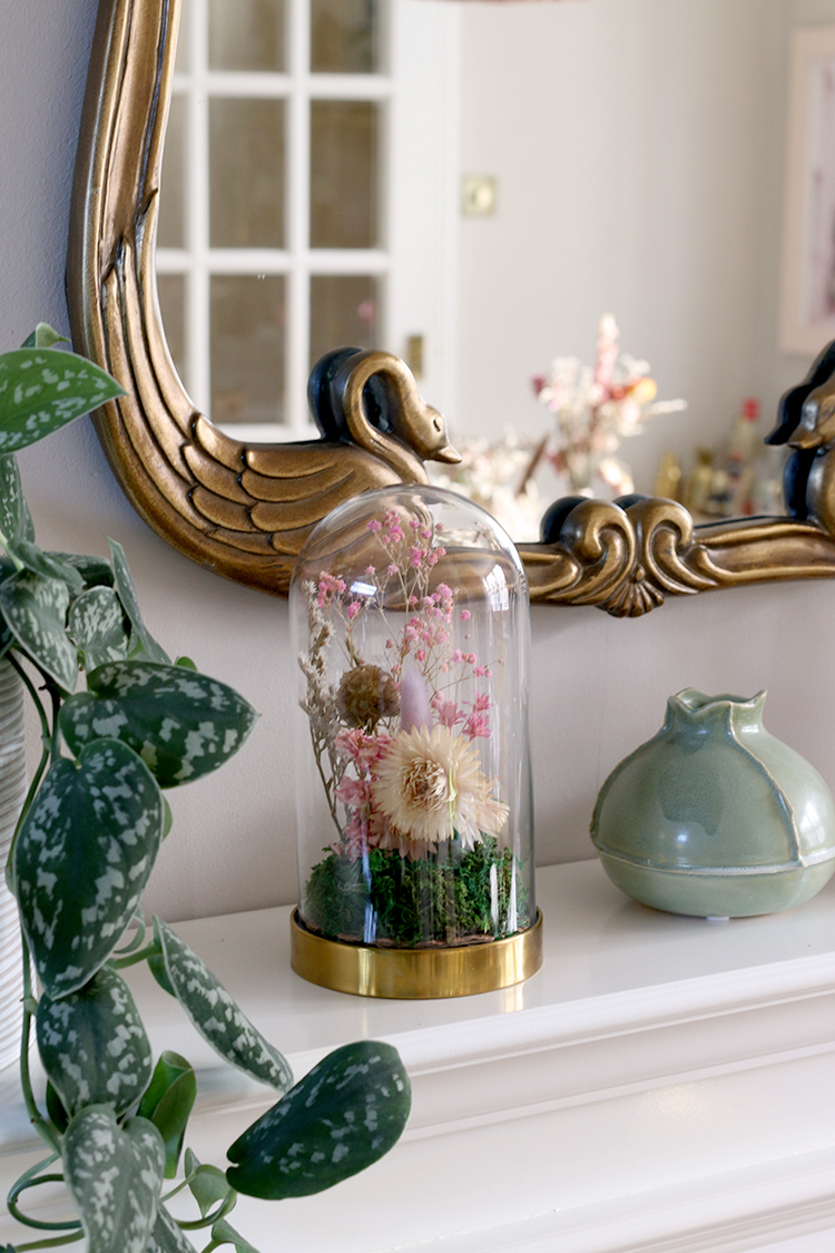 Dried Flower arrangement under glass cloche DIY tutorial