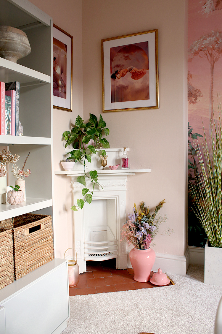 corner Victorian fireplace in peach office