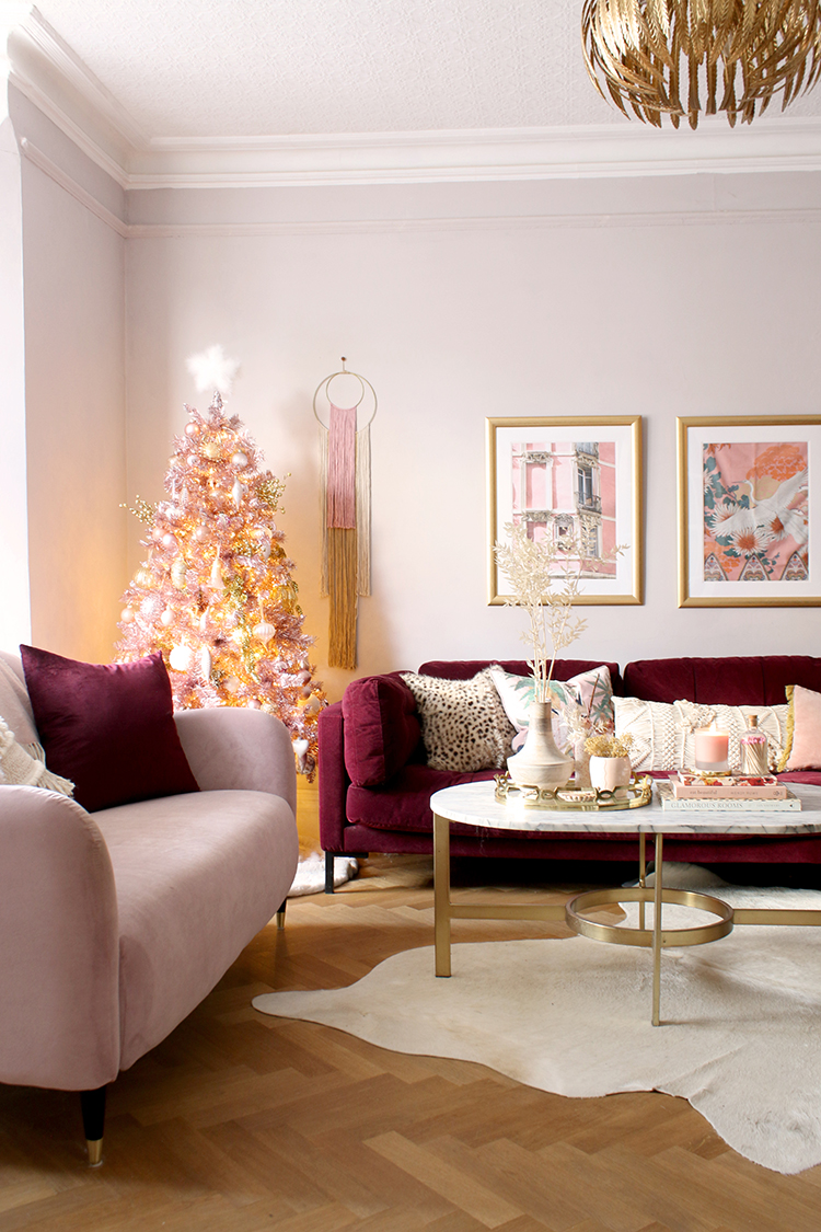 Christmas living room with pink tree