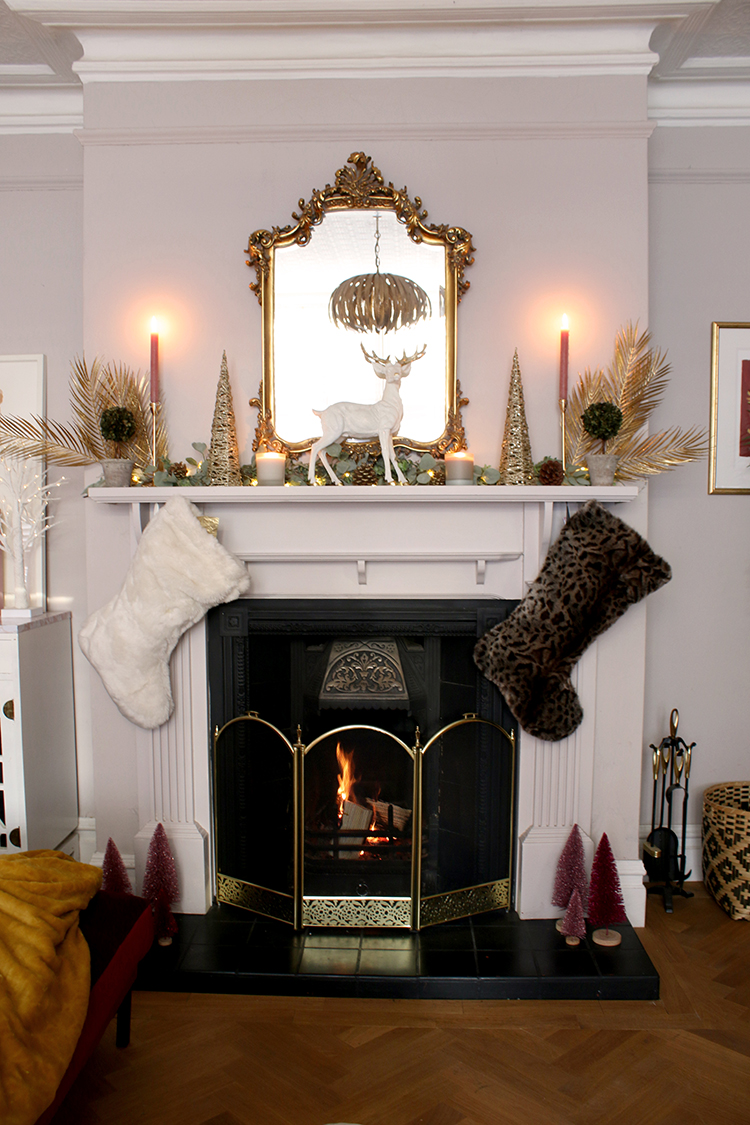 christmas 2020 mantle with faux fur christmas stockings