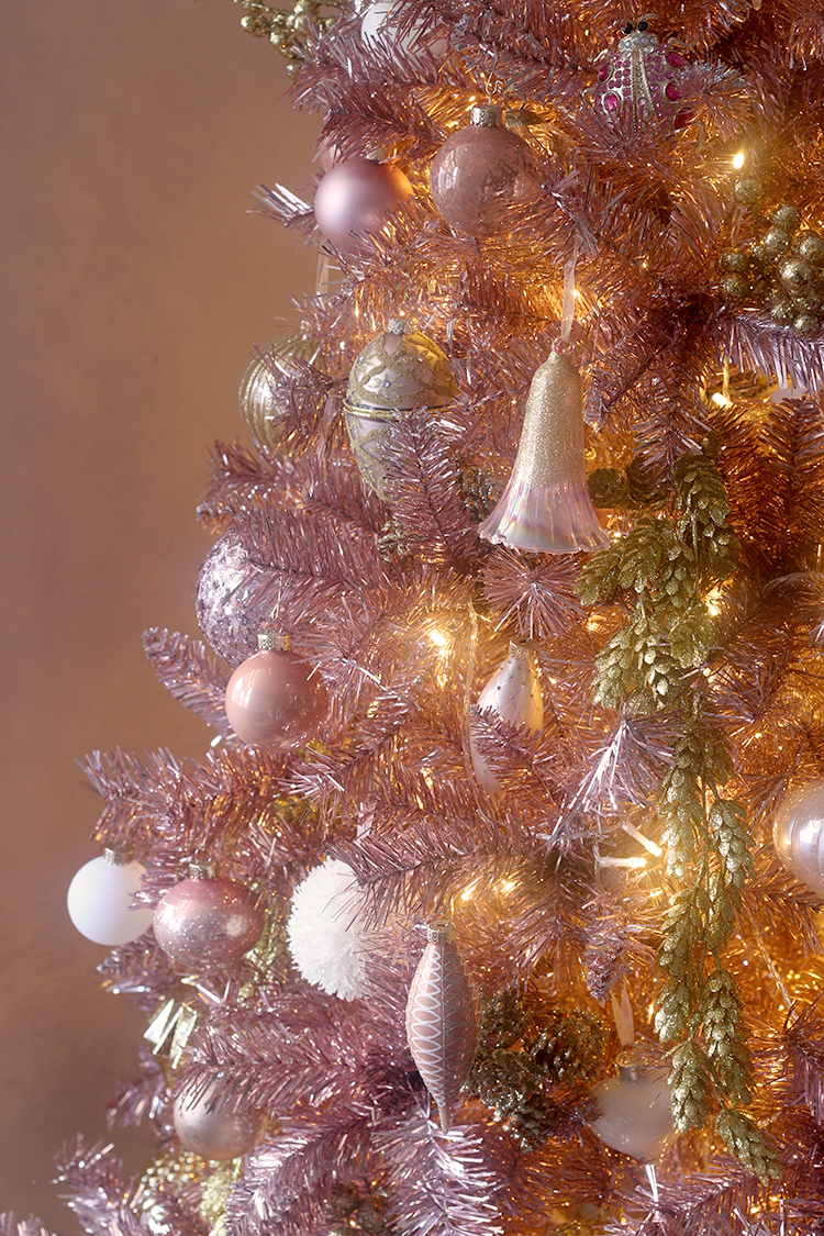pink and gold decorated christmas tree detail
