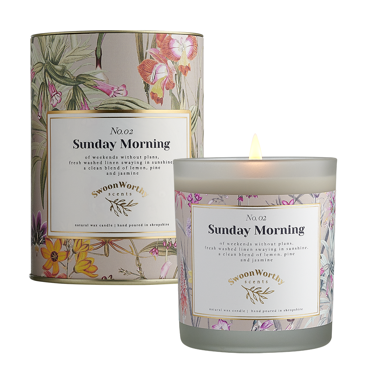 No 2 Sunday Morning Candle lit & Packaging square