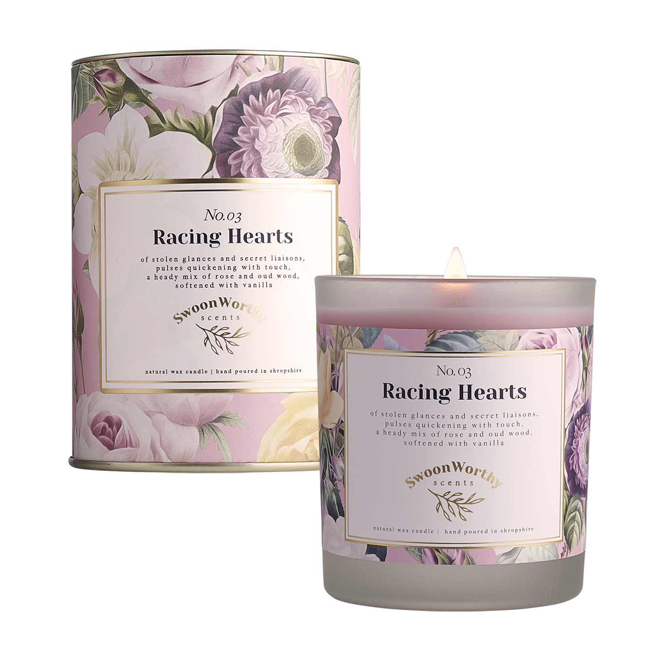 No 3 Racing Hearts Candle lit & Packaging square NEW
