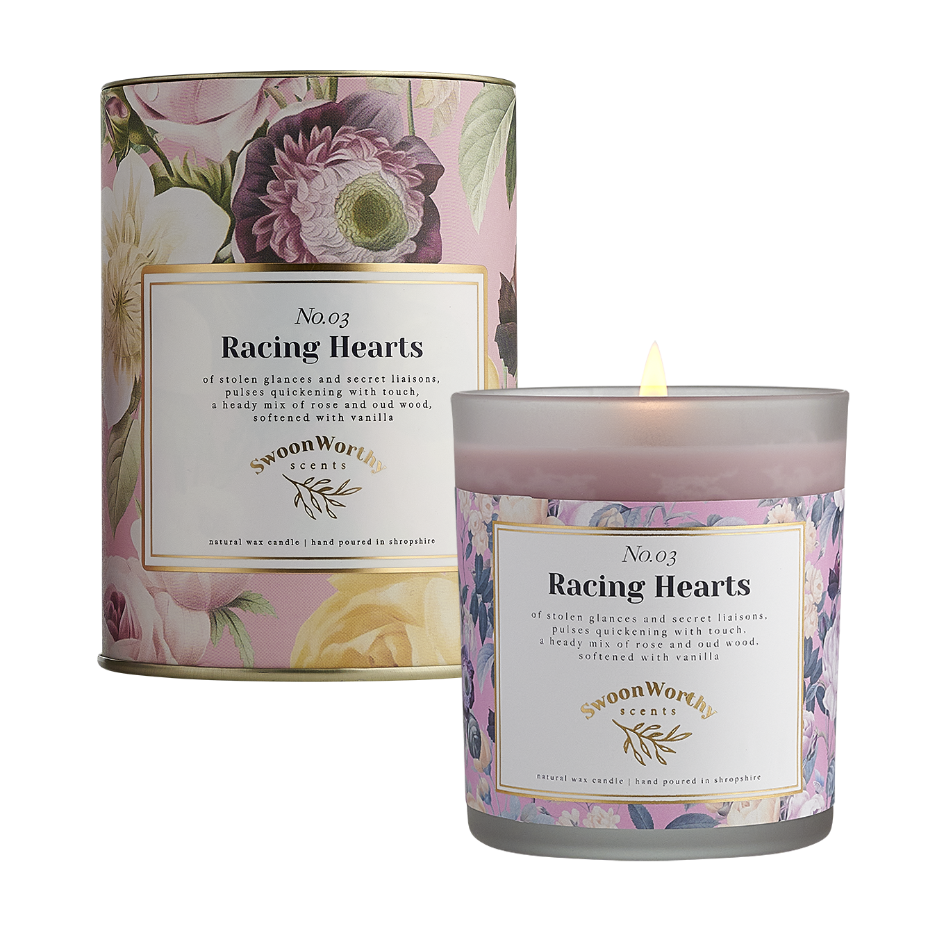 No 3 Racing Hearts Candle lit & Packaging square