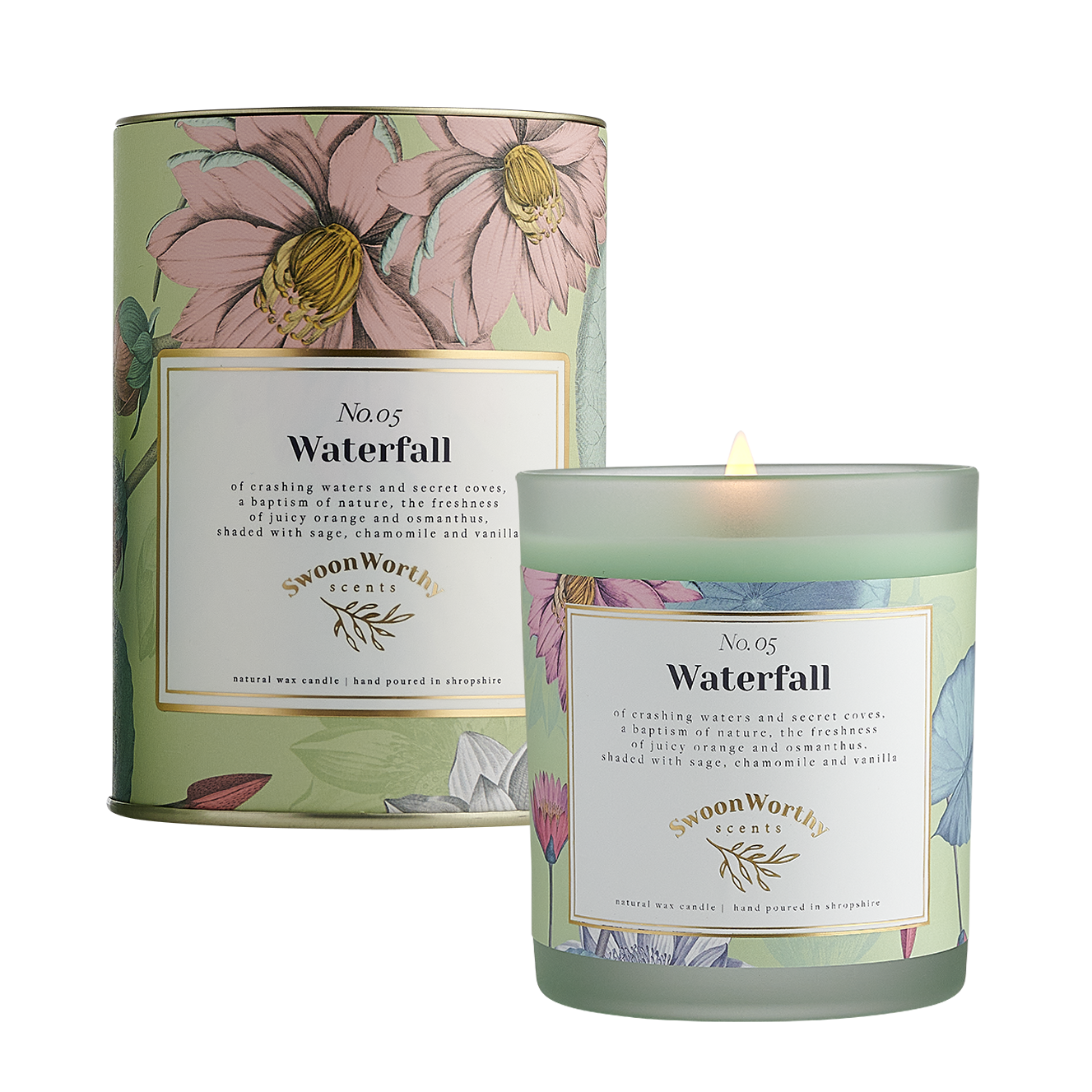 No 5 Waterfall Candle lit & Packaging square