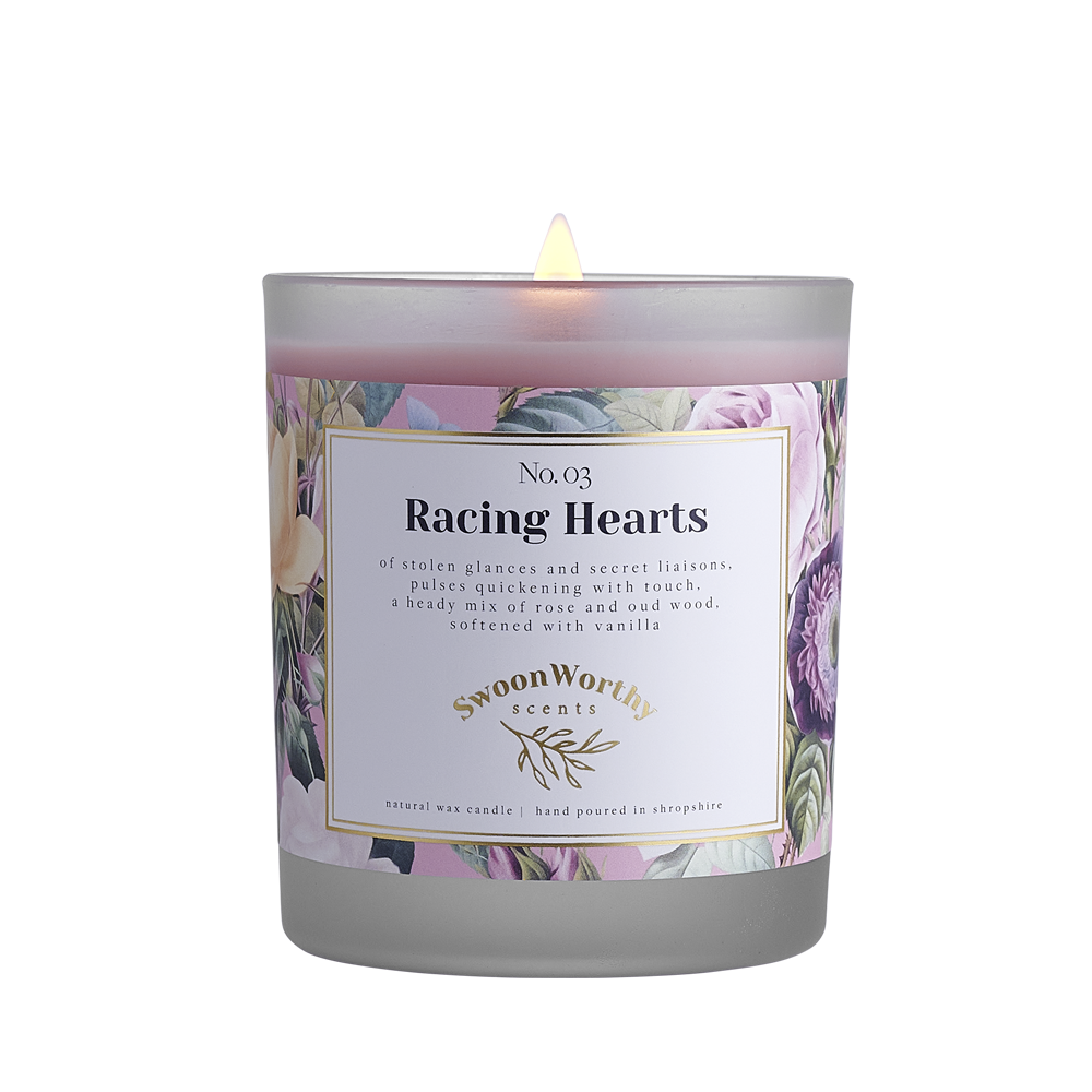 No 3 Racing Hearts Lit Candle NEW