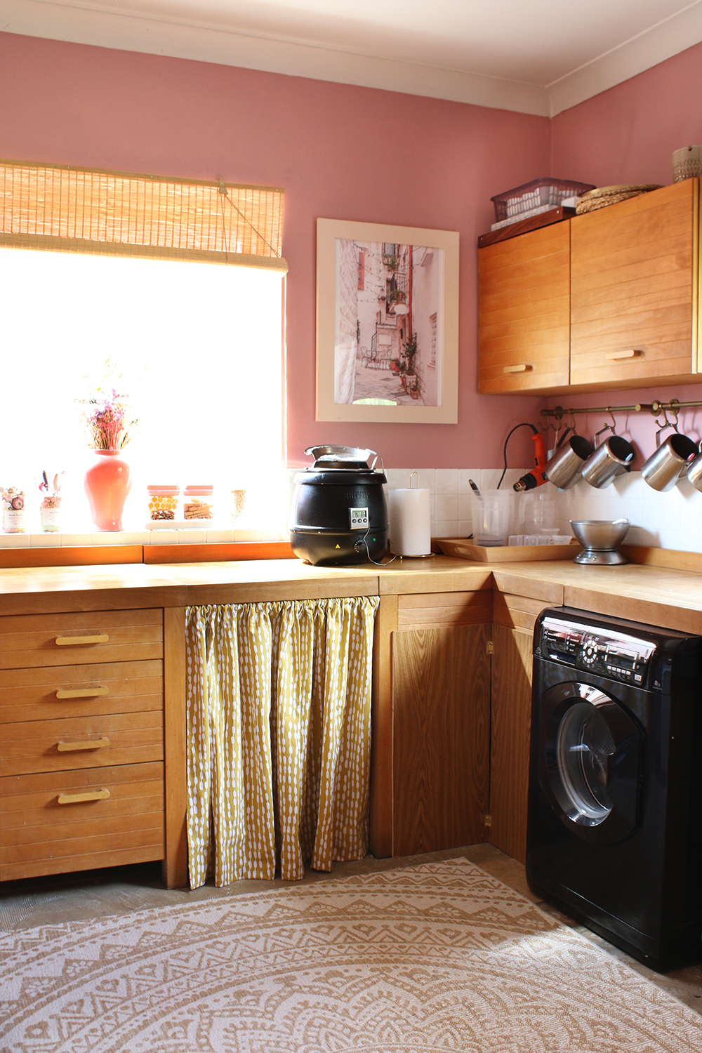 Budget Utility Room Refresh in pink and yellow