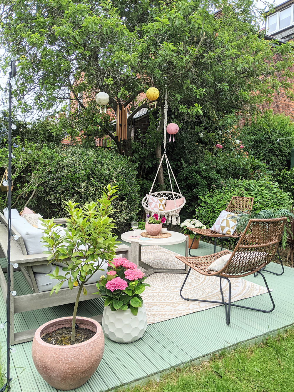 garden deck styling in pinks and green boho glam