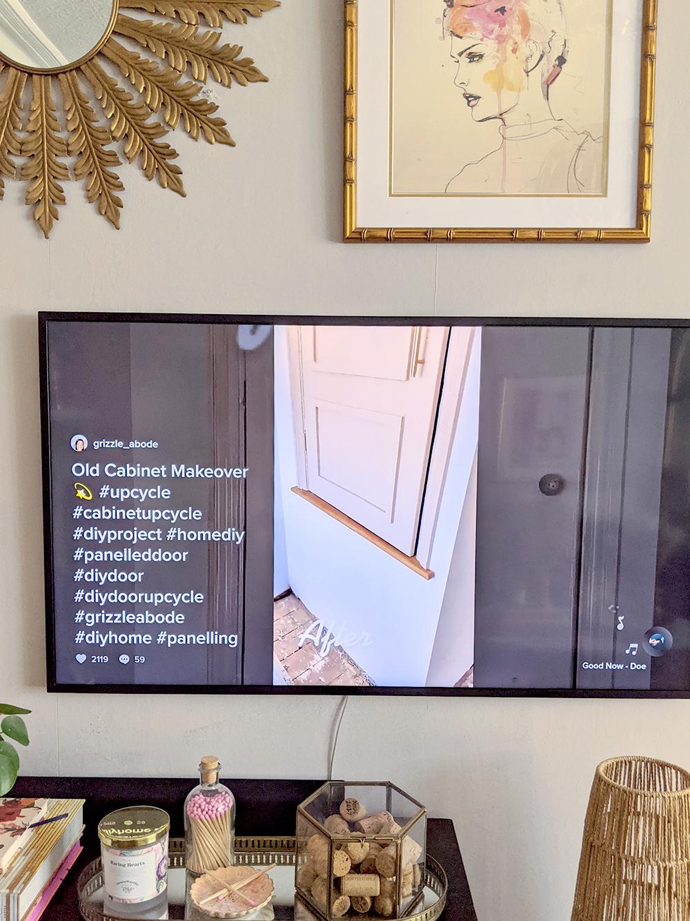 Samsung Frame TV 2021 Watching TikTok app