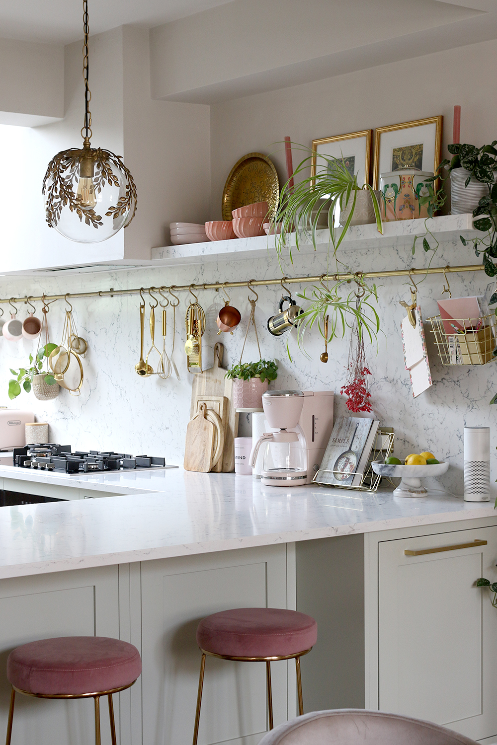 marble kitchen shelf styling with vintage lighting