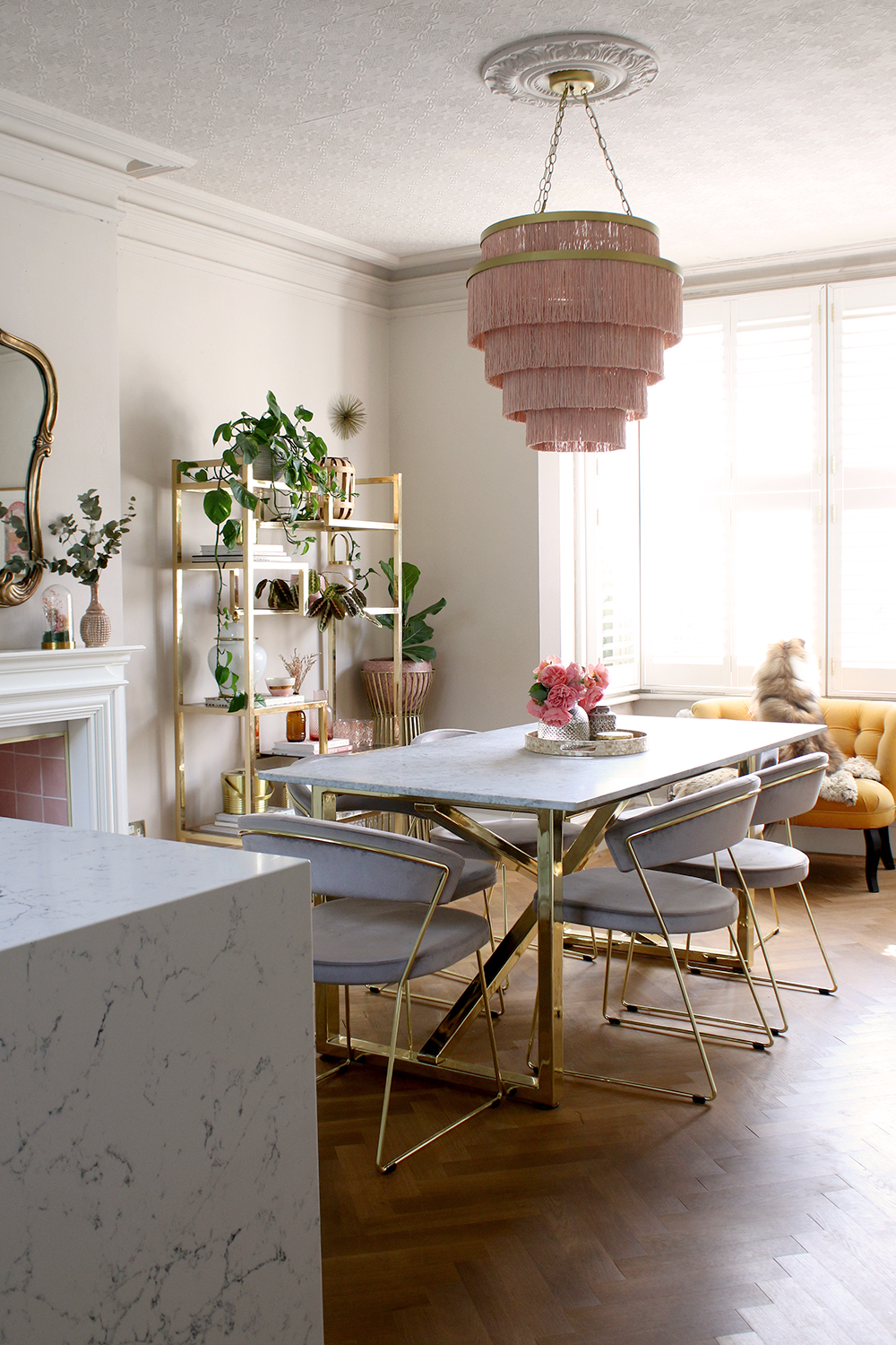 dining room in pink beige and grey